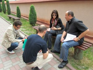 Renaud, Ihor, Marla with Father Bihun