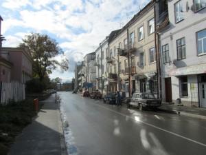 Uncertain skies over Shevchenko Street in Rohatyn