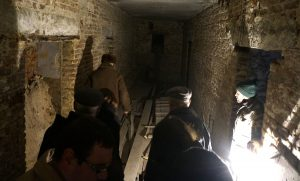 Entering the building basement where Rohatyn Jews hid during the war