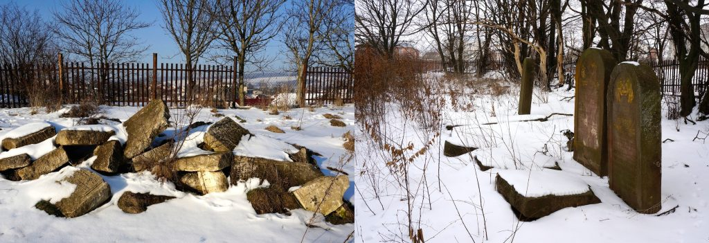 The old and new Rohatyn Jewish cemeteries in winter