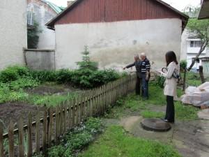 Inspecting the garden area.