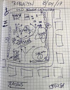 Steven's preliminary cemetery sketch