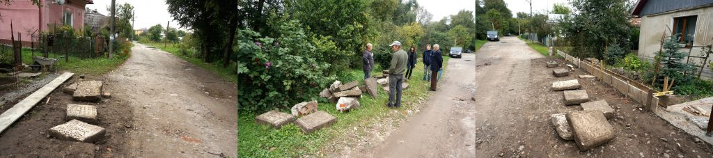 Headstone fragments moved to both sides of the road