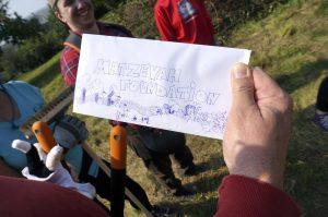The cartoon envelope the PCVs gave team TMF