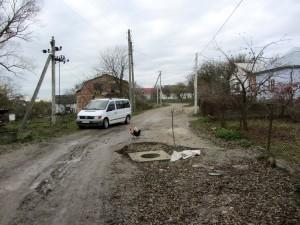 The sewer line project in progress on vul. Zelena