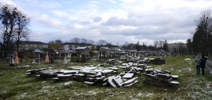 Recovered Jewish headstones at the Radekhiv cemetery last month