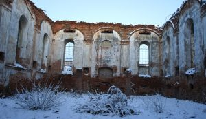 A view inside the Stryi synagogue ruin on the day before the roundtable
