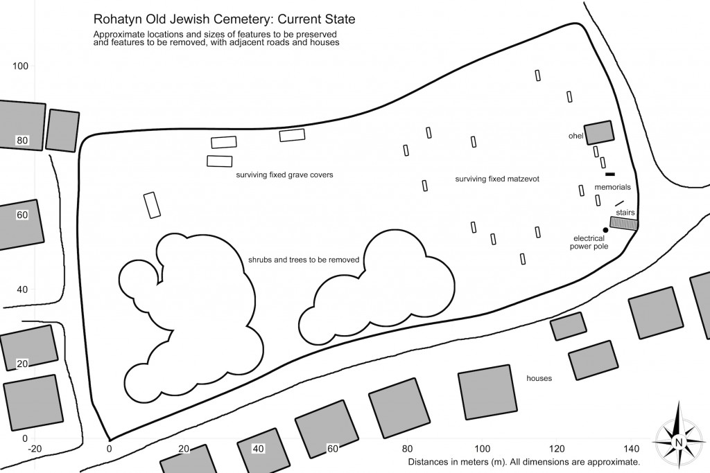 Plan view sketch of the old cemetery, current state
