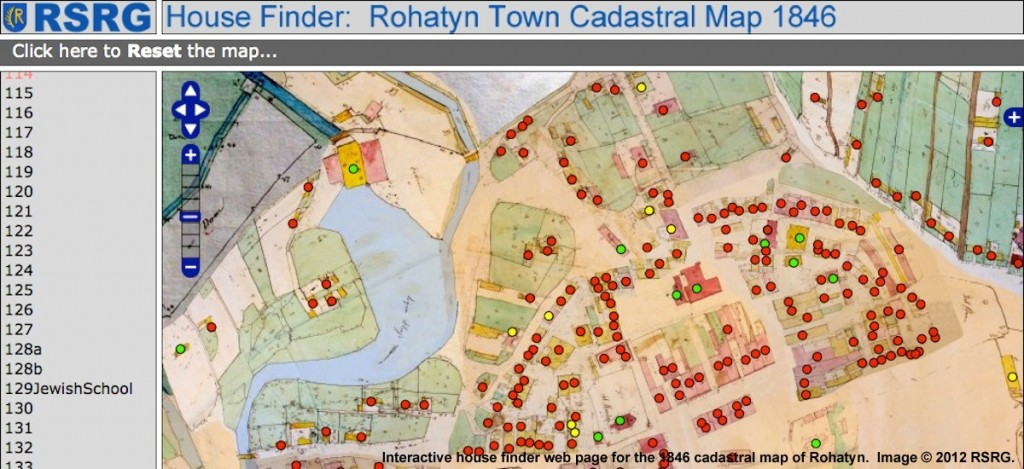 House finder app for the 1846 Rohatyn cadastral map