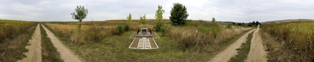 A panoramic view of the southern descendants' monument and surrounding fields
