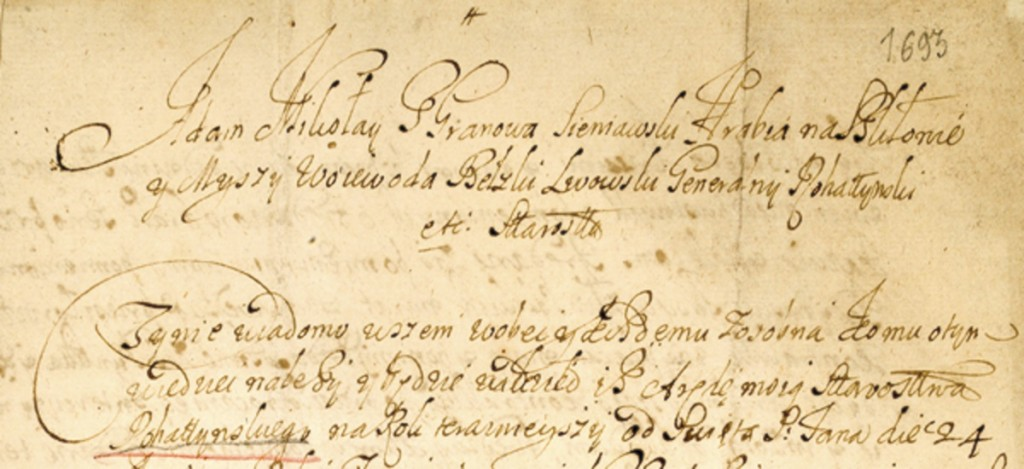 Rohatyn District Lease of 1693