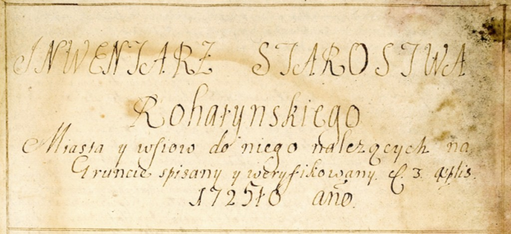 Inventory of the Rohatyn District in 1725