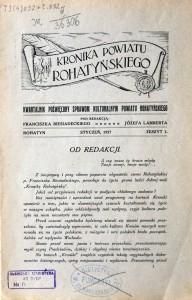 Vol 1 Nr 1 of Kronika Powiatu Rohatyńskiego