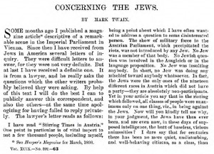"Mark Twain, ""Concerning the Jews"", 1899"
