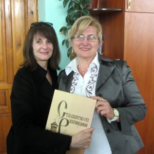 Marla and Halina with the book gift