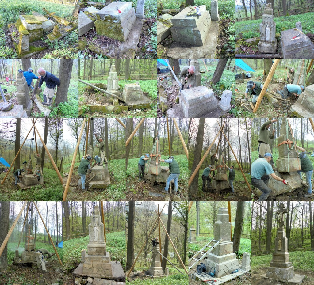 A huge monument is extracted, cleaned, leveled, and re-assembled over several days, using simply-engineered methods and tools.