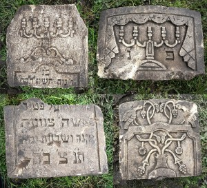 The new headstone fragments after cleaning by the garden owners