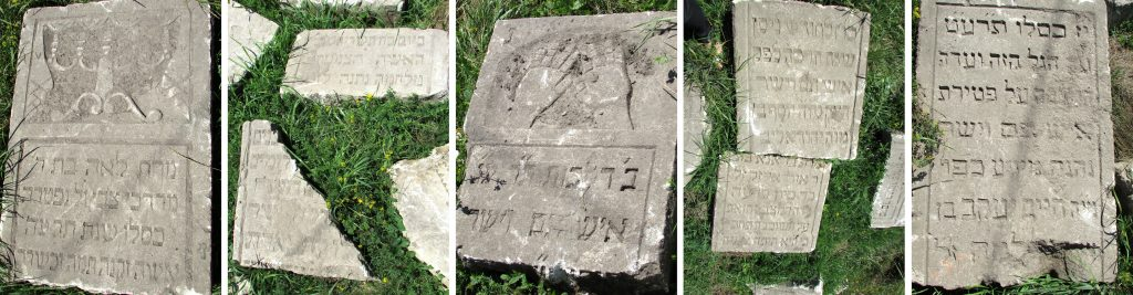A sample of the various headstone fragments recently unearthed