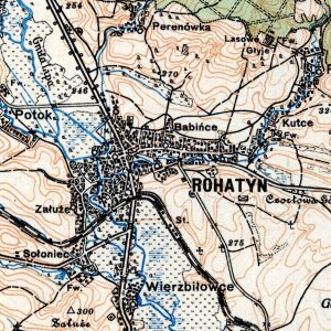 detail of the 1926 regional map of Rohatyn