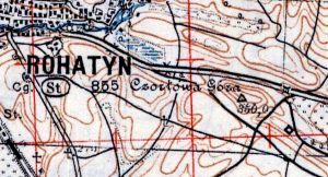 Contour lines depicting the terrain east of Rohatyn