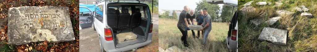 The larger fragment at the City yard, in the van, and returned to the cemetery. Photos © 2016 Marla Raucher Osborn and Jay Osborn.