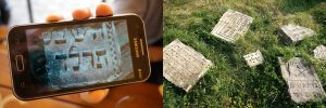 Left: Olga's phone shows the small fragment where it was discovered; right: the fragment now at the old Jewish cemetery. Photos © 2016 Olga Verbiana and Jay Osborn.
