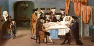 The Prague hevrah kadisha attends to a man at death