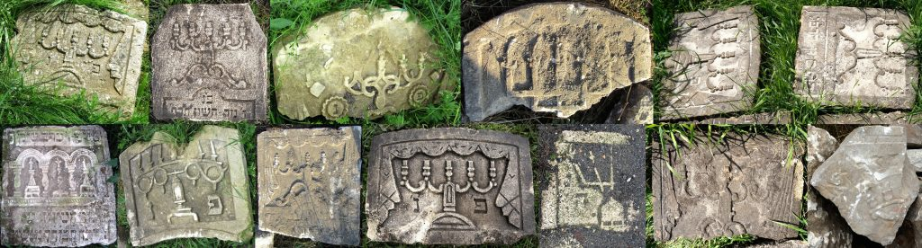 Some of the many styles of candelabra on Rohatyn matzevot