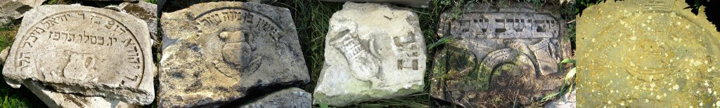 Examples of water pitcher symbols on matzevot recovered in Rohatyn