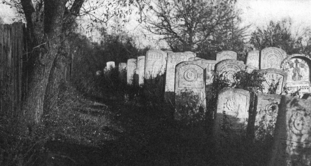 A portion of the north edge of Rohatyn's old Jewish cemetery, from a postcard image dated 1917