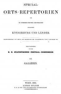 Title page of the 1890 census summary of Galicia