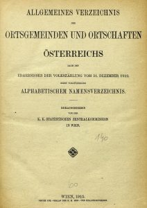 Title page of the 1910 census summary of the Austrian Empire