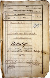 Title page of the 1846 cadastral survey of Rohatyn