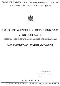 Title page of the 1931 Polish census summary of the Stanisławów voivodeship