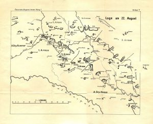 Opposing armies position themselves, 22Aug1914