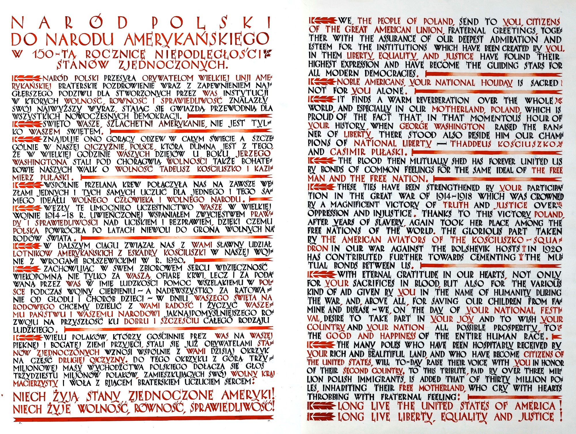 1926 Polish Declarations Of Friendship With The United States