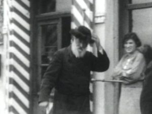Jews outside a shop on the Rohatyn town square