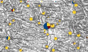 Населення, визначене за релігійною ознакою, більших містечок та сіл навколо Рогатина в 1880 році