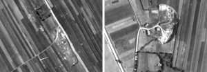 The mass grave sites seen in the 1944 aerial photo