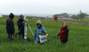 The archaeology team starting a topographic survey of the south site