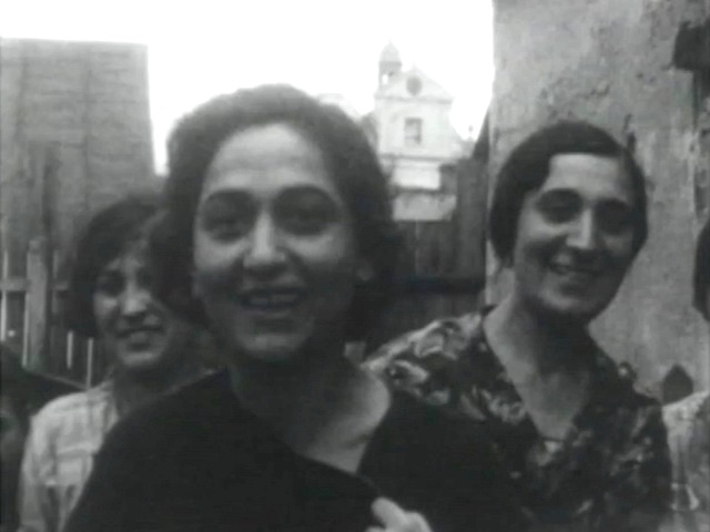 A still image of Jews in Rohatyn, from a 1930s holiday film by Fanny Holtzmann