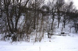 The north mass grave site, and the steep hill behind it