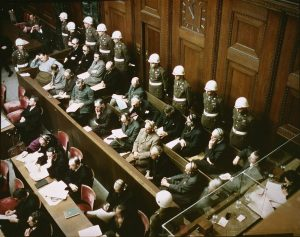Defendants in the dock at the Nürnberg trials