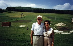 Jack and his wife Bea in 1998, visiting the forest near Lopushna
