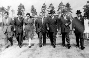 Trepman with a committee at the Bergen-Belsen DP camp