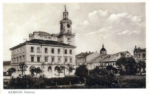 The Sambir town square and city hall before the war