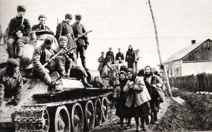 Soviet army troops in a Ukrainian village