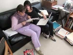 Rosette comparing Rohatyn family notes with Marla