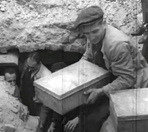 Recovery of the metal boxes in 1946