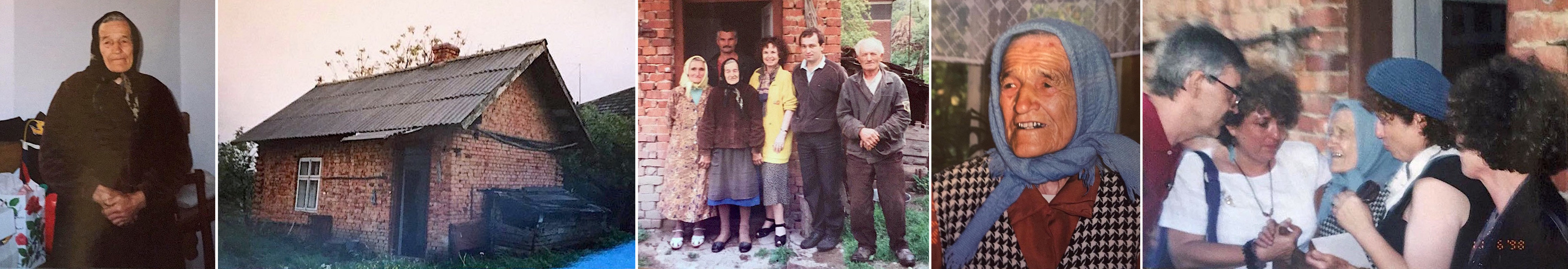 Paranka Borachok at her house in 1994 with Cipora and the family of one of Paranka's sons, and in 1998 with Cipora and her sisters